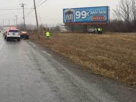 Officials say the person veered off of the roadway for an unknown reason and crashed into the pole of a billboard.