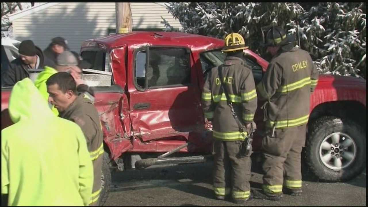 A fire truck responding to a call collides with a pickup truck in York County.