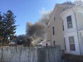 Emergency crews are on the scene of a garage fire in Dallastown, York County.