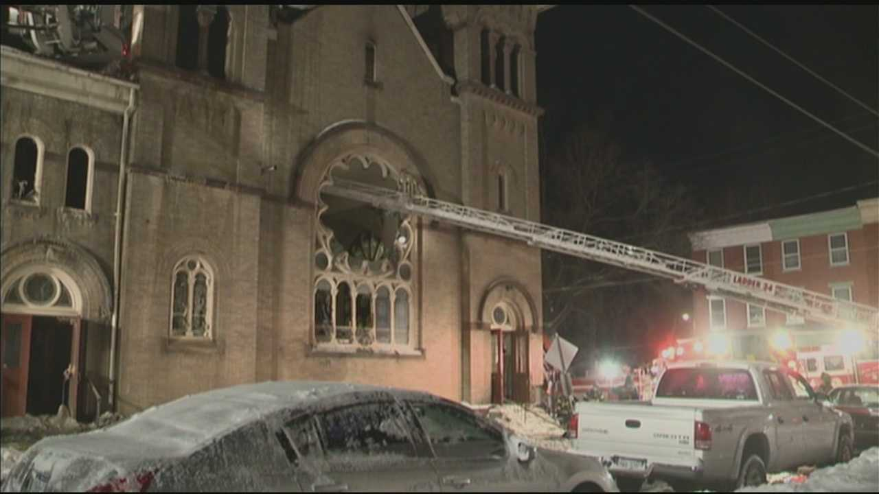 Friday morning's record-setting cold temperatures made fighting a church fire difficult.