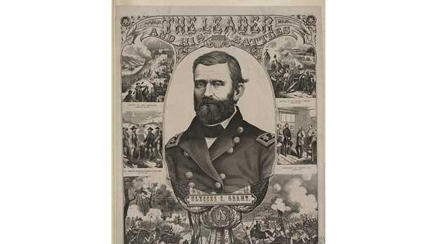 A poster commemorates the exploits of Gen. Ulysses S. Grant, including Lee's surrender at Appomatox.