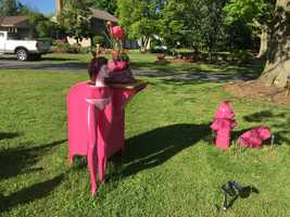 """The """"lawn art"""" was created by 63-year-old Tony Papadimitirou. His home is located on West Roseville Road in Manheim Township."""