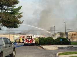 Firefighters are battling a massive fire at a chemical company near Hanover, Pennsylvania.