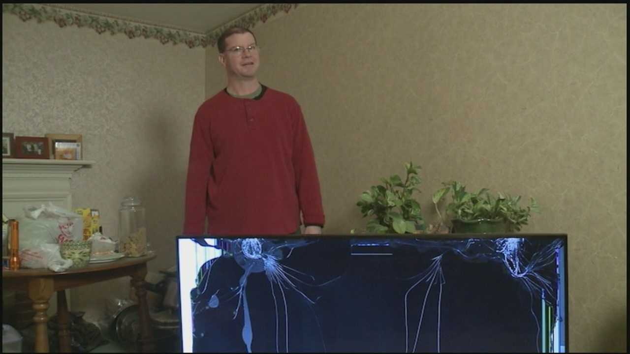 A Susquehanna Valley man says when he opened a brand new, big screen TV he bought at a box store he found it smashed. When he tried to get a refund, the store said no.