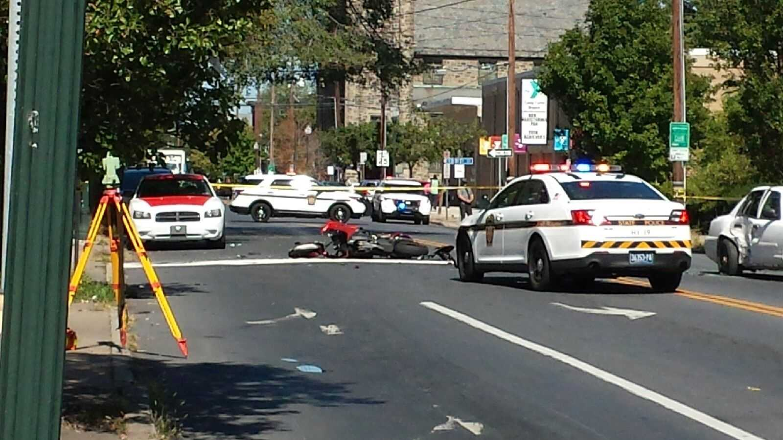 The driver of a motorcycle is in the hospital after he led police on a chase through Harrisburg.