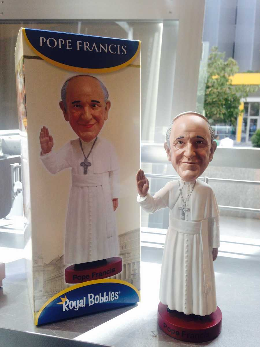 This bobble head of Pope Francis was selling for $25.