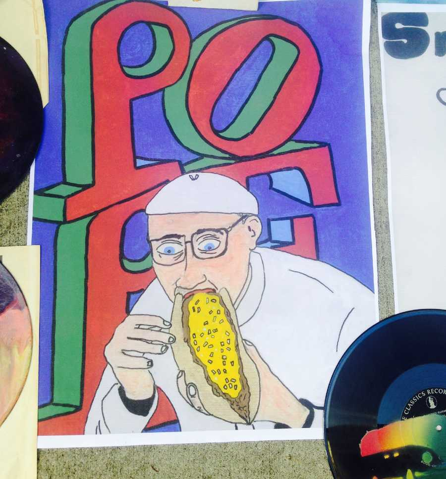 Hand-painted pope poster made by street artist: $10