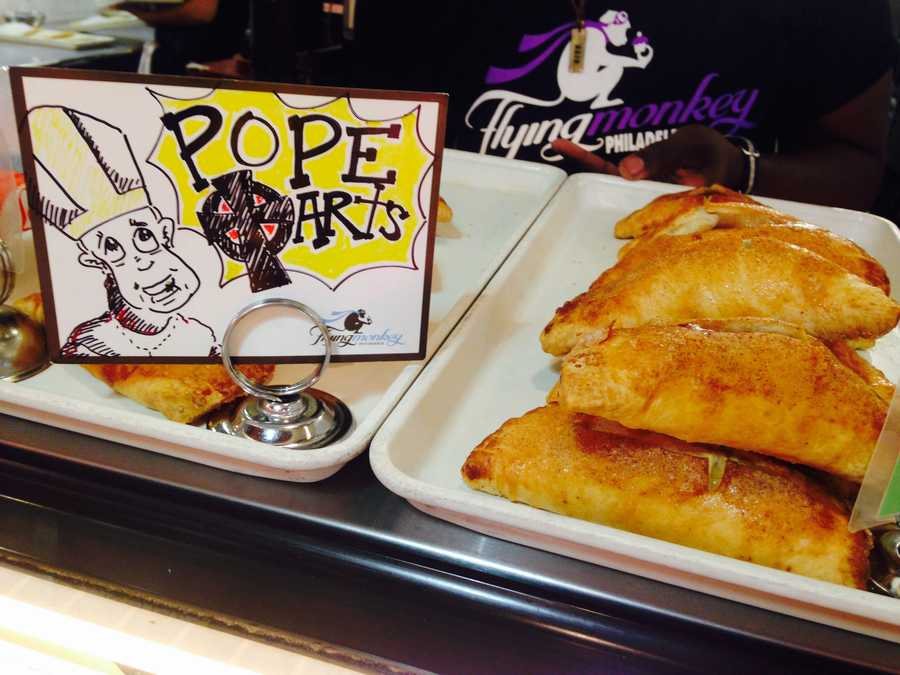"Flying Monkey Bakery made these ""Pope Tarts."" The handmade pies come in apple and pumpkin-pecan."