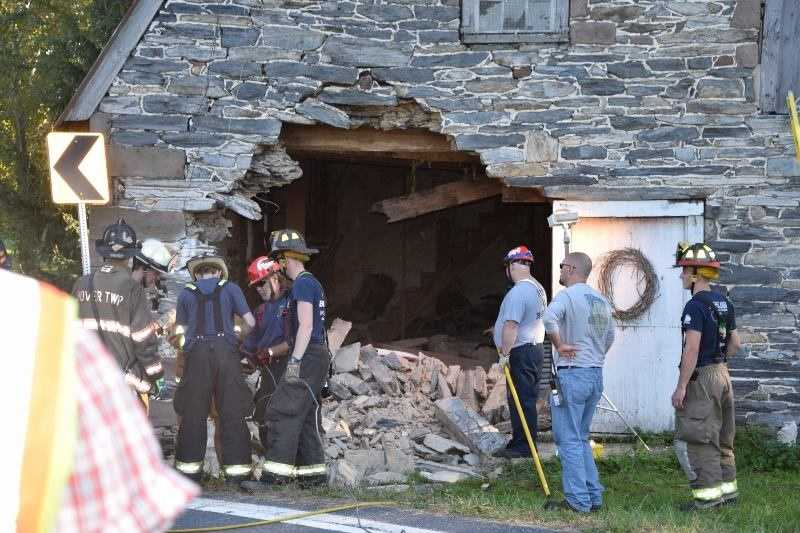 A driver is in York Hospital after crashing his vehicle into a building in Adams County and getting trapped for three hours.