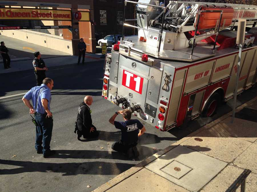A fire truck is stuck in a sinkhole on a Lancaster street. The sinkhole opened up on the 400 block of North Queen Street at Lemon Street. Officials say the sinkhole formed under the truck.