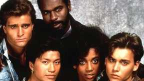 """The cast of """"21 Jump Street."""" Yes, that's Johnny Depp on the right."""