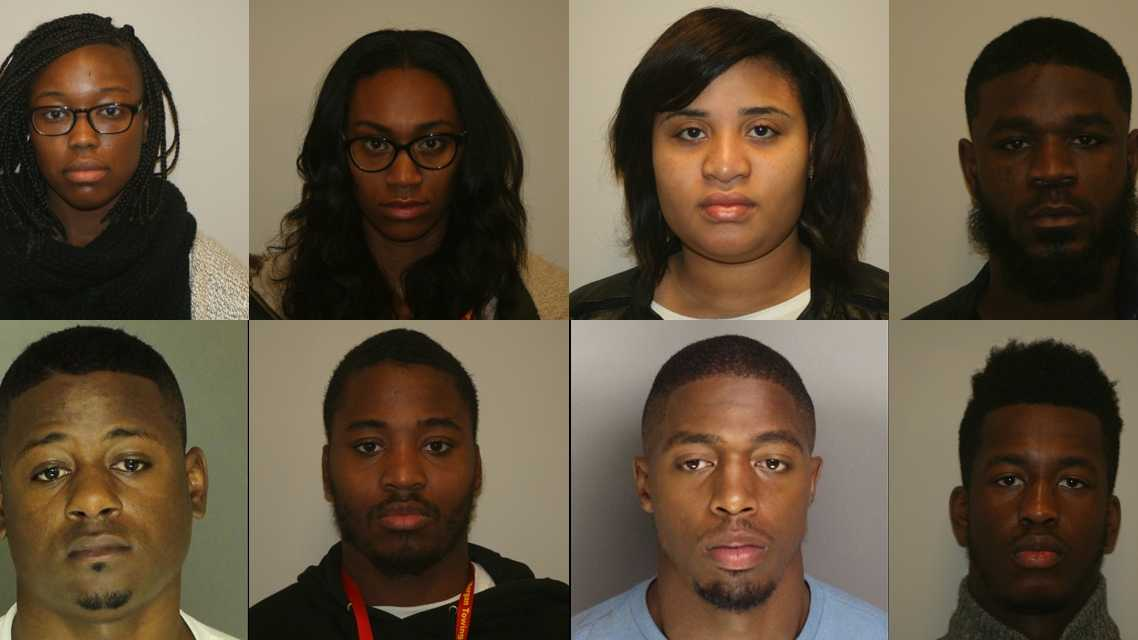 Top Row, left to right: Nadajah Vickers, Jamecia Miller, Brianna Beaufort, Aaron Caple (not a student at Millersville). Bottom row, left to right: Dwayne Wolfe Jr., Sharif Smith, Quadiar Johnson, Alimamy Sesay. Aboubacar Doukoure is not pictured.
