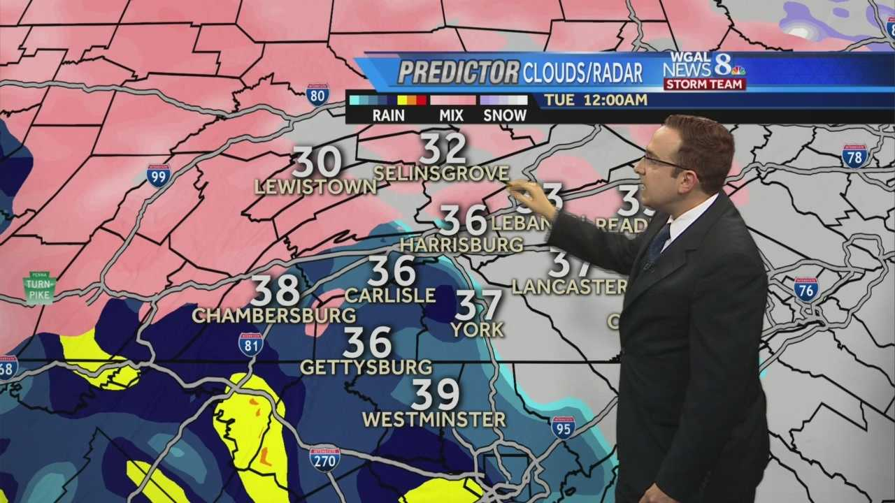 News 8 Storm Team Meteorologist Ethan Huston has the forecast featuring the threat of some sleet & light snow mixing in with rain for Monday evening and overnight.