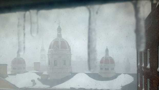 Snow covers the old courthouse in York.