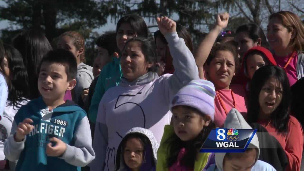 Protesters demonstrate outside detention center for immigrant families
