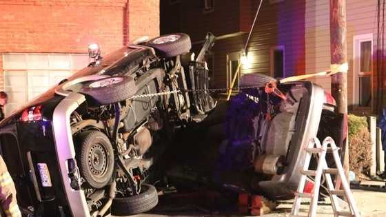 Accident in Lancaster ends with cars on their sides