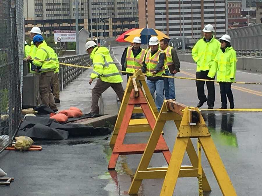 Crews are working to shore-up the area of the bridge where a wall collapsed wall.