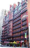 The Hotel Chelsea in Manhattan, N.Y., is reportedly haunted by famous writers, including Dylan Thomas, Eugene O'Neill, and Thomas Wolfe.