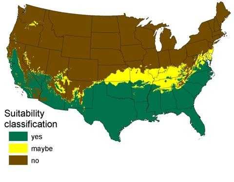 This is the potential range for burmese pythons taking into account a projected warming trend.