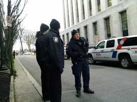 Security outside the Dauphin County courthouse on Friday.