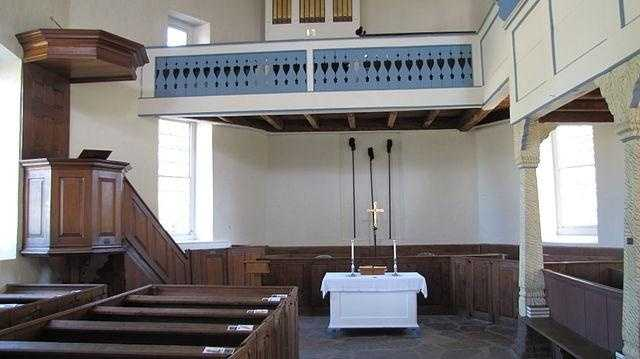 Designed by Heinrich Melchior Muhlenberg, all of the interior fittings of the church were fabricated from local materials, the only exception being the English-made pulpit.