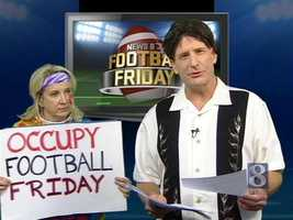 "Producer Ronda Keiser got in on the act as a protester holding an ""Occupy Football Friday"" sign in the middle of the broadcast."