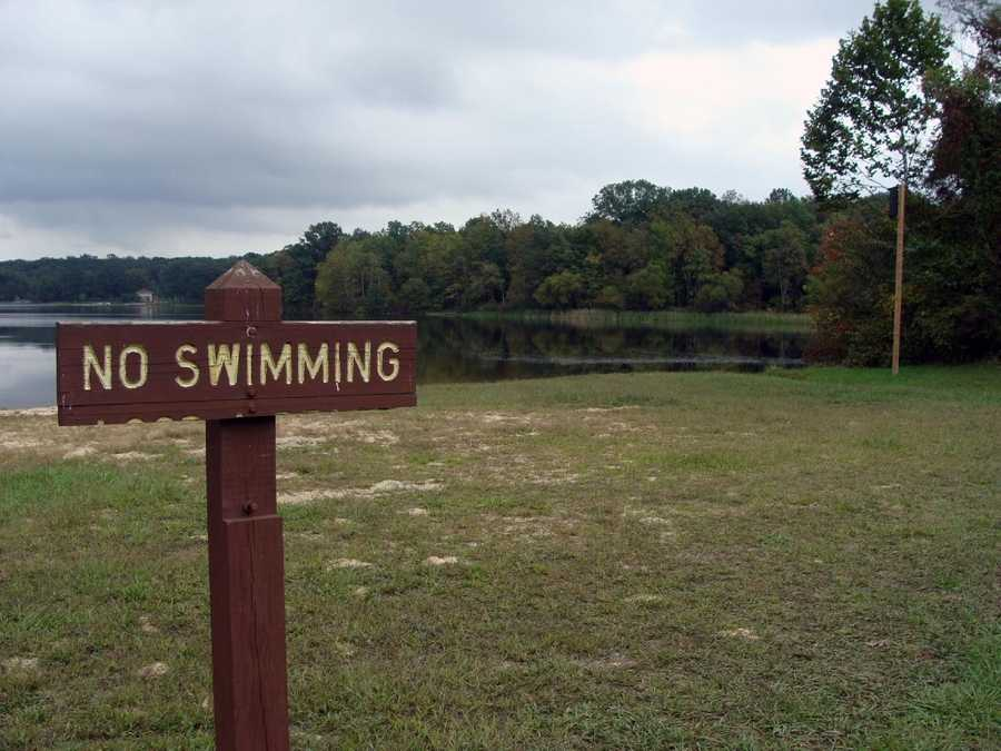 Swimming is permitted at a beach in the Quaker Race Day Use Area and at an area in the campground.