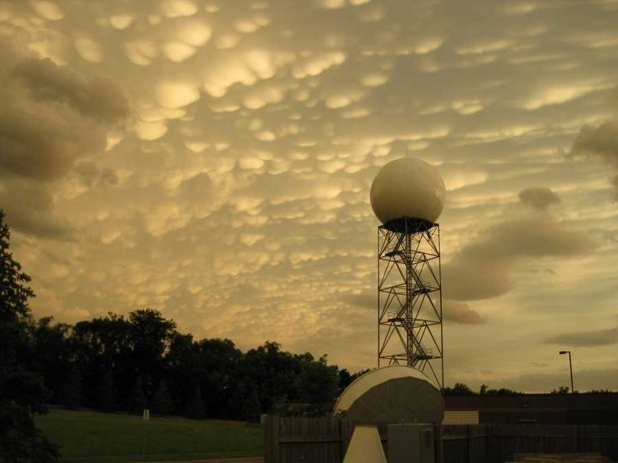 Mammatus clouds are low-hanging bulges that droop from cumulonimbus clouds.