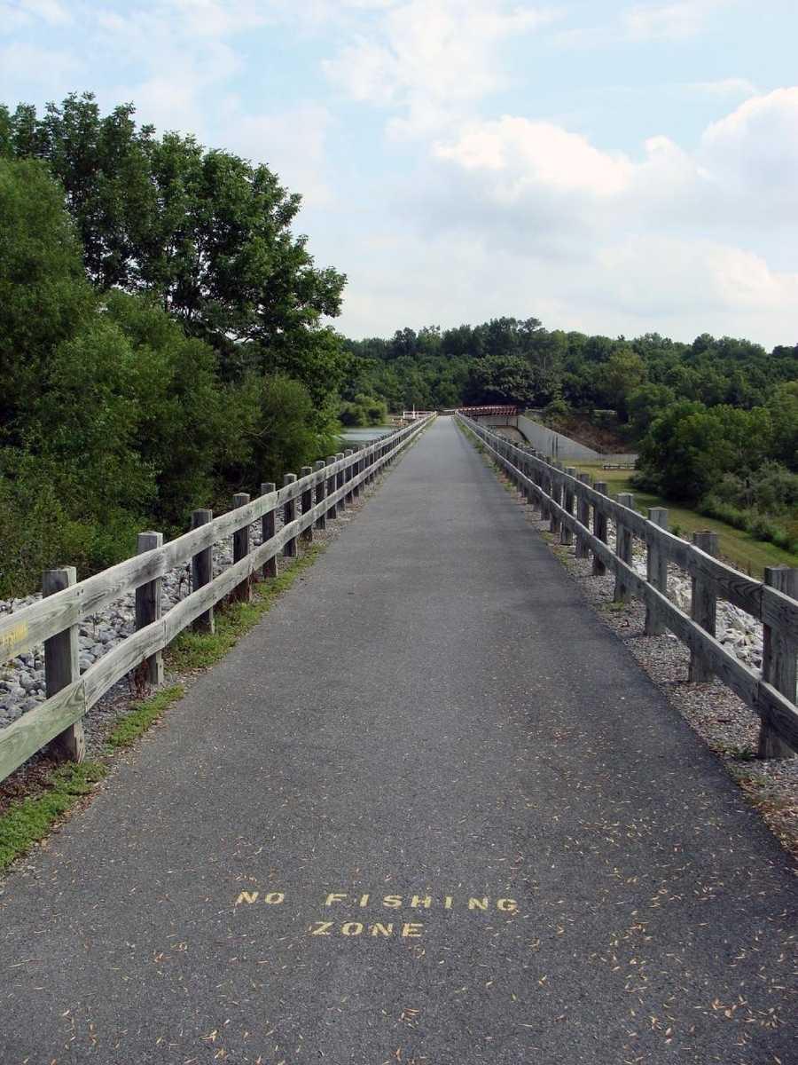 ... across the dam bridge ...