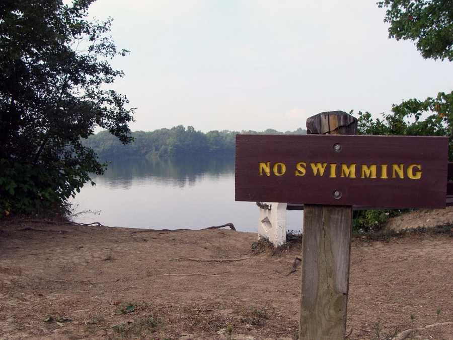 Swimming is not permitted in the lake.