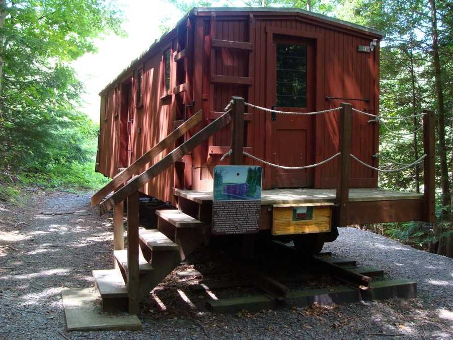 The Newport and Sherman Valley's Railroad ran on a narrow gauge track from 1891 to 1935. Tools would be stored in this car to repair tracks as needed.