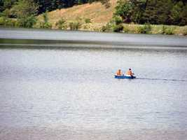 Two public boat launches are available on the north side of the lake.