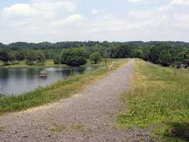 A trail along the dam provides good views of the lake.