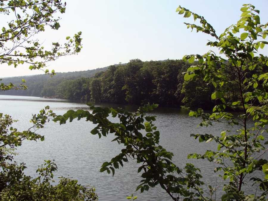 The 88-acre lake offers boating and fishing opportunities.