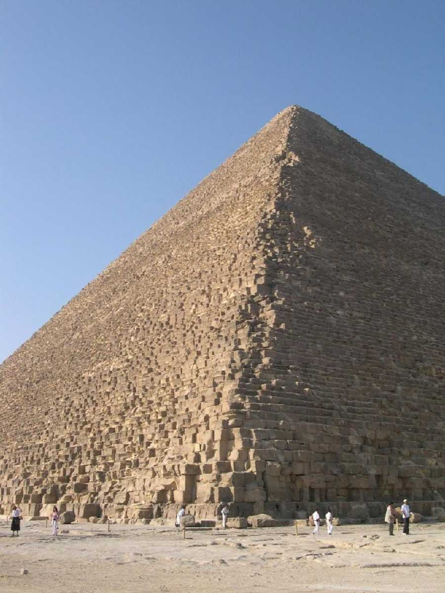 1. The Great Pyramid of Giza, built for the Pharaoh Khufu, is the only one of the Seven Wonders of the Ancient World that still stands. It took some 20 years to build and it was completed in about 2540 B.C. Some of the white casing stones that covered the completed pyramid can still be seen at its base.
