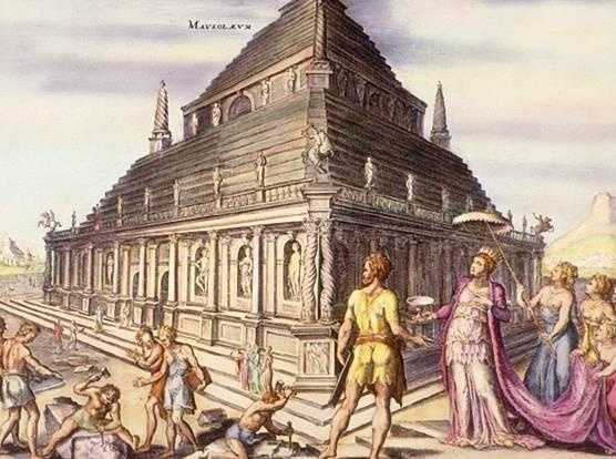 6. The Mausoleum at Halicarnassus was a tomb built between 353 and 350 BC at the present Bodrum, Turkey. It is for Mausolus, a governor in the Persian Empire, and Artemisia II of Caria, his wife and sister. The structure stood approximately 148 ft in height and each of the four sides was adorned with sculpted reliefs created by each one of the four Greek sculptors -- Leochares, Bryaxis, Scopas of Paros, and Timotheus.