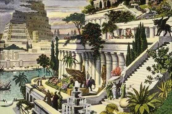 3. This hand-colored engraving depicts the fabled Hanging Gardens of Babylon. According to belief, the gardens did not hang, but grew on the roofs and terraces of the royal palace in Babylon. Nebuchadnezzar II, the Chaldean king, is supposed to have had the gardens built in about 600 BC as a consolation to his Median wife, who missed the natural surroundings of her homeland.
