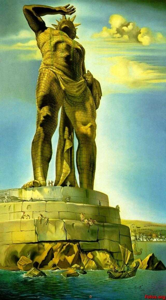 2. The Colossus of Rhodes was completed in 282 BC and stood for only 56 years until it was destroyed by an earthquake. It was constructed of brass plates over an iron framework. Though often depicted as straddling the harbor, the giant is described in historical records as a classic Greek configuration, shielding its eyes as it looked toward the sun. This image is by Salvador Dali.