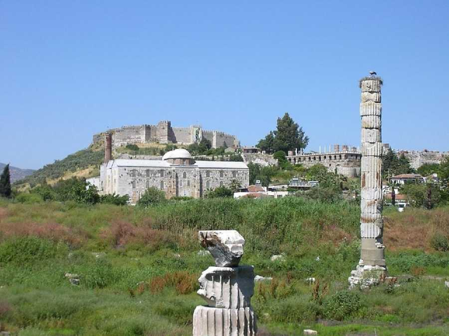 4. The Temple of Artemis was dedicated to the Greek goddess Artemis, a virgin huntress who is said to have unseated the Titan Selene as goddess of the Moon. Sited at the modern town of Selçuk, Turkey, the Temple was completely rebuilt three times before its eventual destruction in 401. Today the site of the temple is marked by a single column constructed of dissociated fragments discovered on the site.
