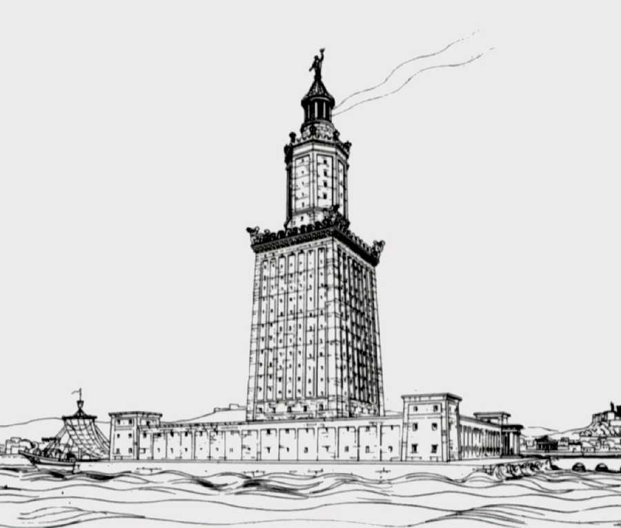 5. The Lighthouse of Alexandria, also known as the Pharos of Alexandria, was built between 280 and 247 BC on the island of Pharos at Alexandria, Egypt. Its purpose was to guide sailors into the harbor at night time. With a height variously estimated at somewhere in-between 393 and 450 ft, it was for many centuries among the tallest manmade structures on Earth.