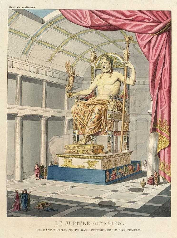 7. The Statue of Zeus at Olympia was made by the Greek sculptor Phidias circa 432 BC. The seated statue occupied half of the width of the aisle of the temple built to house it. Made of ivory and gold-plated bronze, the Statue of Zeus was wreathed with shoots of olive worked in gold and seated on a throne of cedarwood, inlaid with ivory, gold, ebony, and precious stones.