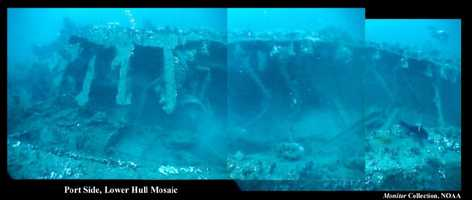 This image is compiled from a series of video stills by Jeff Johnston of the Monitor National Marine Sanctuary. Although there is a distinct amount of distortion from the camera, this image shows some of the significant collapse that has occurred over the years.