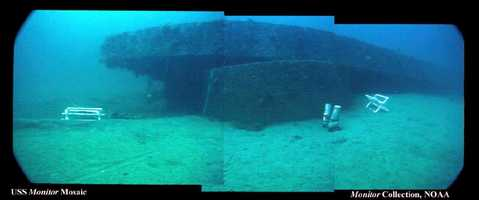 Image compiled from a series of video stills by Jeff Johnston of the Monitor NMS. This image (from the port stern) shows the location of the Monitor's turret and how it supports the wreck off of the bottom. The area under the armor belt is the area targeted for stabilization by NOAA.