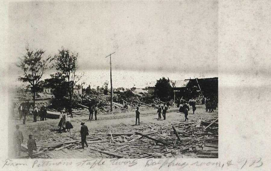 8. 1908 (477 deaths): The 1908 Dixie tornado outbreak produced tornadoes in 13 states on April 23, 24 and 25. Tornado activity began at various locations from South Dakota to Texas, but the deadliest of the storms developed on April 24, which left 143 people dead (most of which occurred in Purvis, Mississippi). Various locations were hit and saw lives lost during the outbreak, including Mississippi, Alabama, Tennessee, and Georgia.