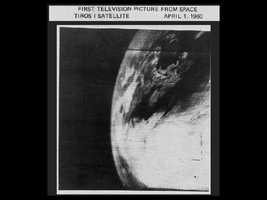 The first photo of Earth from a weather satellite, taken by the TIROS-1 satellite on April 1, 1960. Early photographs provided new information on cloud systems, including spiral formations associated with large storms, immediately proving their value to meteorologists.