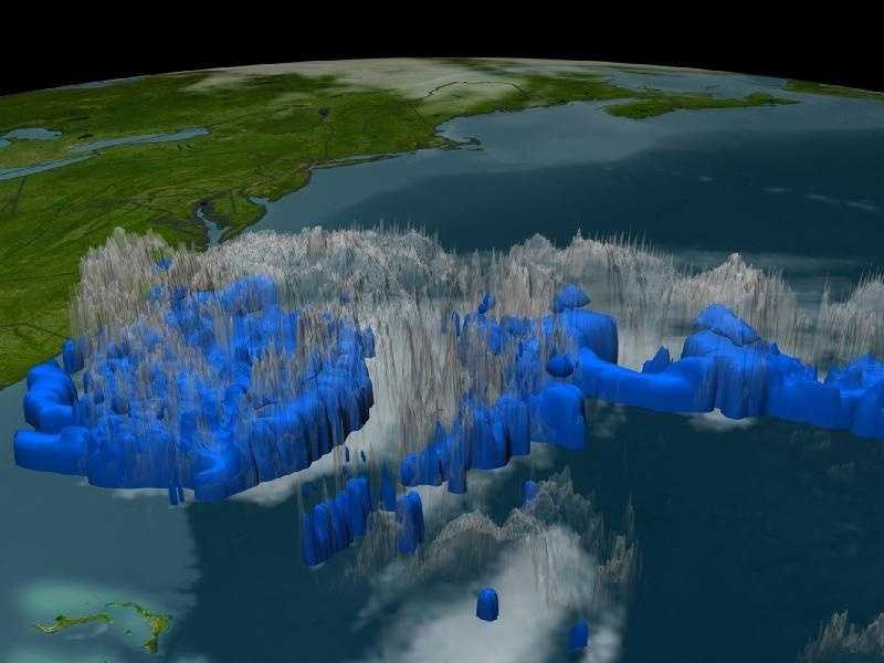Data from the Tropical Rainfall Measuring Mission satellite in September 2005 show the heaviest rain developing in the eastern bands of Tropical Storm Ophelia. Blue represents areas with at least 0.25 inches of rain per hour.