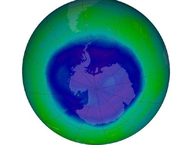 """The Antarctic ozone hole reached its annual maximum on Sept. 12, 2008, stretching over 27 million square kilometers, or 10.5 million square miles. The area is calculated using data from the Ozone Monitoring Instrument on NASA's Aura satellite. This is considered a """"moderately large"""" ozone hole, according to NASA atmospheric scientist, Paul Newman."""