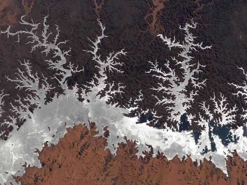 Egypt's Lake Nasser, as photographed in January 2005 from the International Space Station.