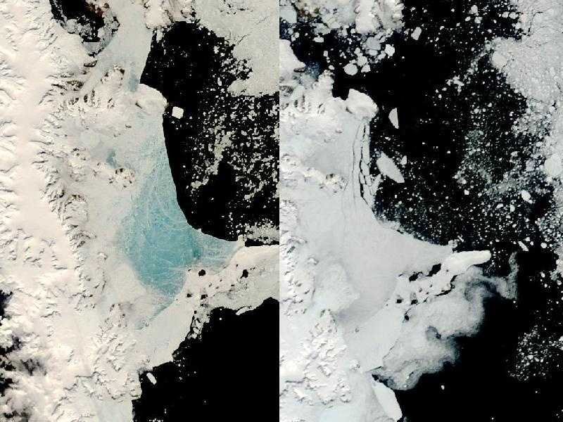 Changing weather conditions left their mark on sea ice along the Antarctic Peninsula in late 2008 and early 2009. In mid-December 2008, melt water resting on the sea ice colored it sky blue. At the beginning of 2009, however, the sea ice appeared snowy white, and cracks had begun along the ice margin. The Moderate Resolution Imaging Spectroradiometer on NASA's Terra satellite captured these images on December 13, 2008 (left), and January 2, 2009 (right). Both images show the northern portion of the Antarctic Peninsula.