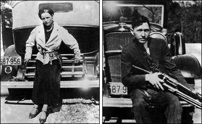 Bonnie Parker and Clyde Barrow were outlaws, robbers, and criminals who traveled the Central United States during the Great Depression. Their exploits captured the attention of the American public between 1931 and 1934. They are believed to kill at least nine police officers and committed several civilian murders. Bonnie and Clyde were eventually ambushed and killed in Louisiana by officers.